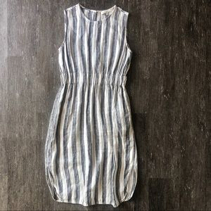 LOFT striped linen-like midi dress
